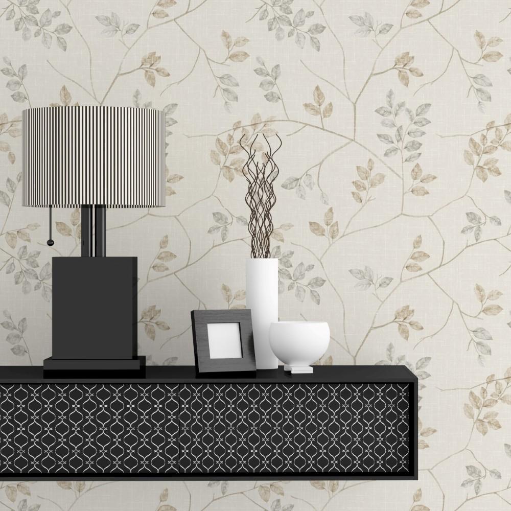 Papel de parede adesivo floral galhos bege stickdecor for Papel pared moderno