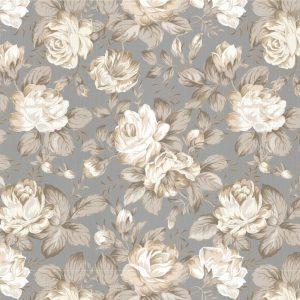 Papel de Parede Adesivo Floral Rosas Cinza