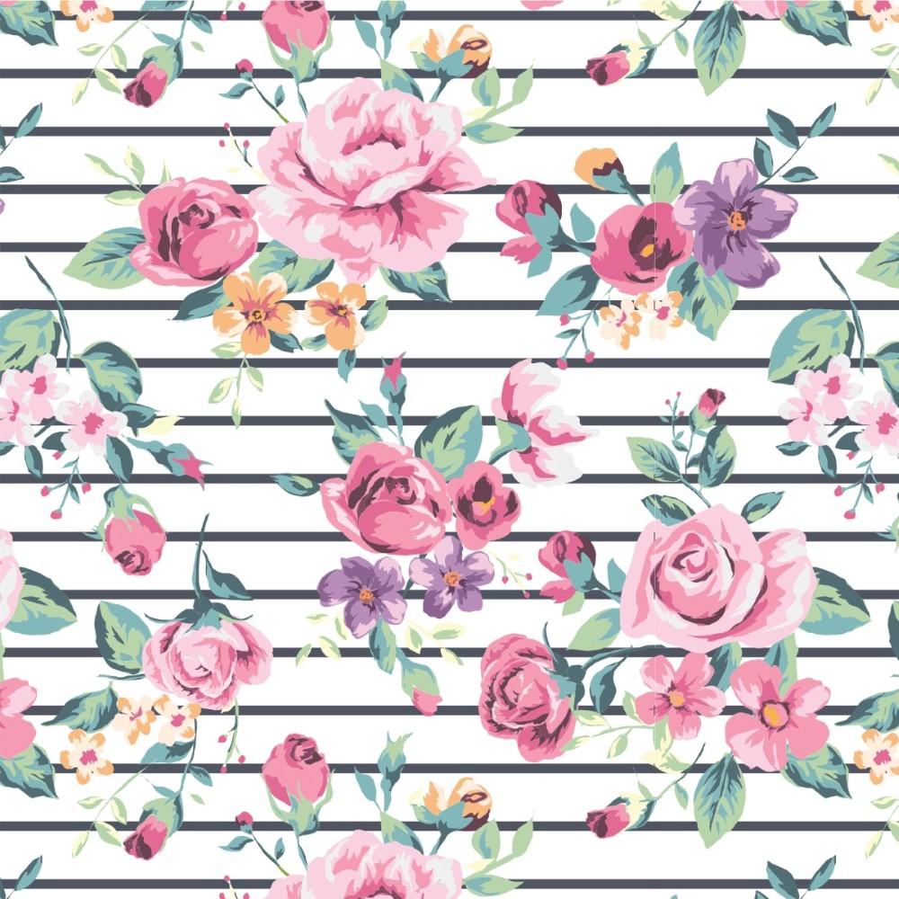 Adesivo De Parede Arvore Com Fotos ~ Papel de Parede Adesivo Floral Rosas Listrado StickDecor