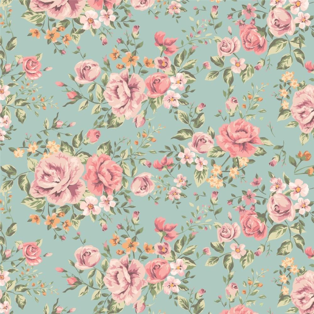 Papel de parede adesivo floral rosas retro stickdecor - Papel de pared retro ...
