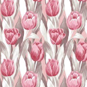 Papel de Parede Adesivo Floral Tulipas Rosas