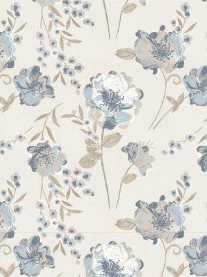 Papel de Parede Adesivo Floral Vintage Azul