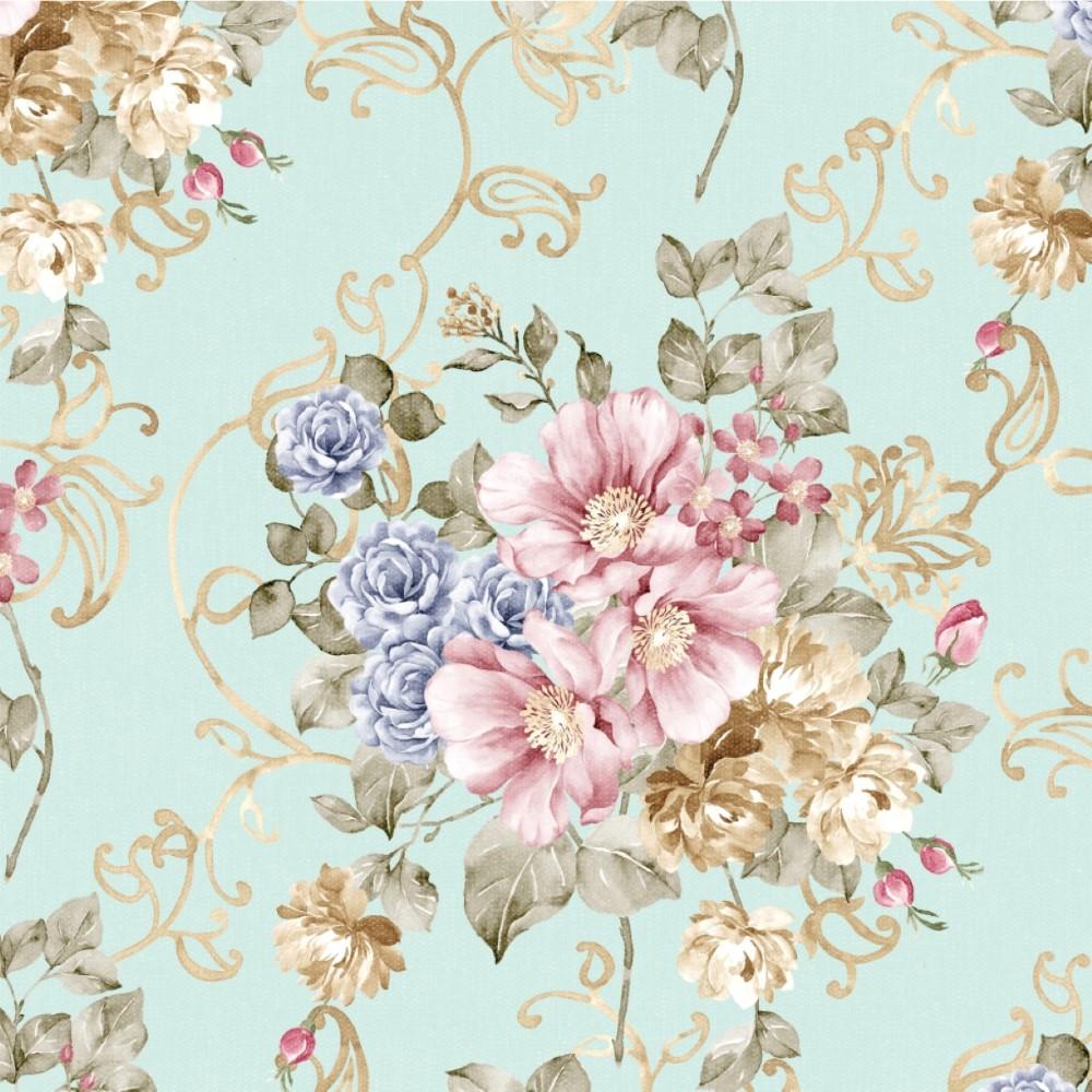 Papel de parede adesivo floral vintage dourado stickdecor - Papel vintage pared ...