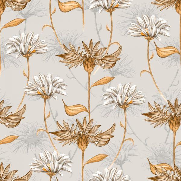 Papel de Parede Adesivo Floral Vintage Marrom
