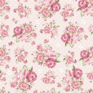 Papel de Parede Adesivo Floral Vintage Rosa com Poás