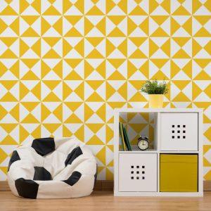 Papel de Parede Adesivo Geométrico Amarelo