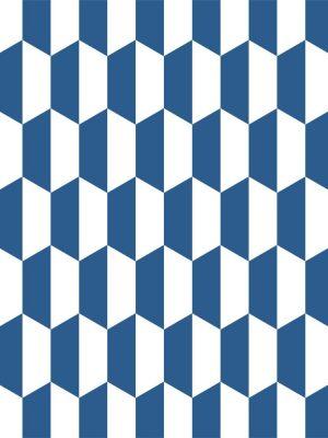 Papel de Parede Adesivo Geométrico Azul e Branco