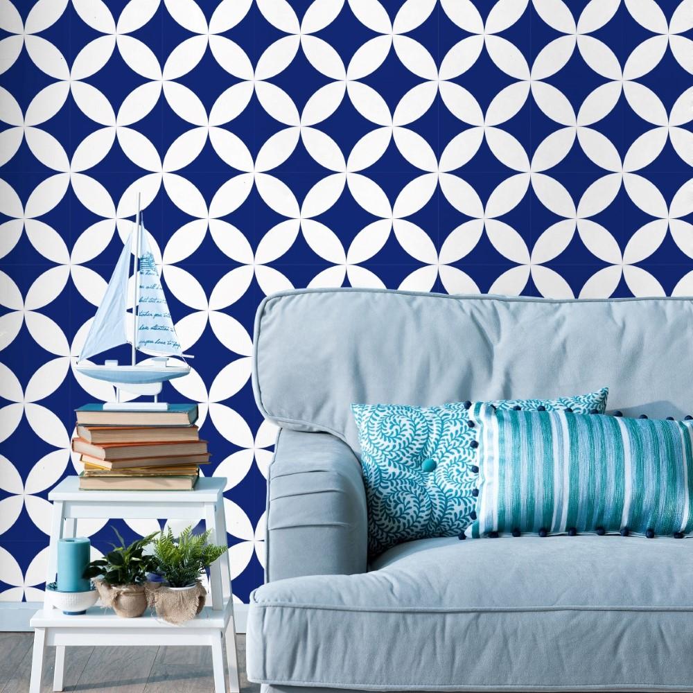 Artesanato Rede ~ Papel de Parede Adesivo Geométrico Azul e Branco 043