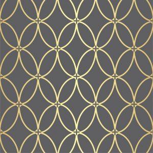 Papel de Parede Adesivo Geométrico Cinza e Dourado