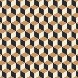 Papel de Parede Adesivo Geométrico Cubos Preto e Marrom