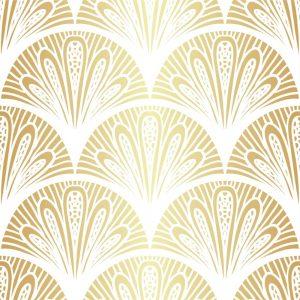 Papel de Parede Adesivo Geométrico Dourado e Branco