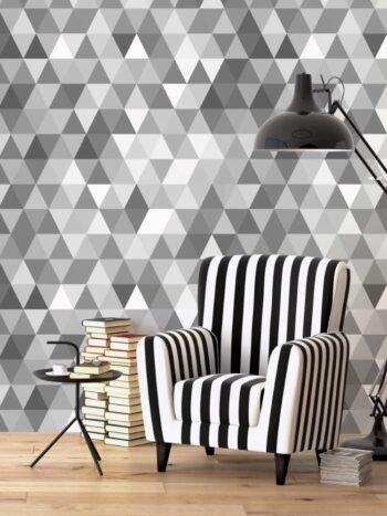 Papel de Parede Geométrico Mosaico Cinza