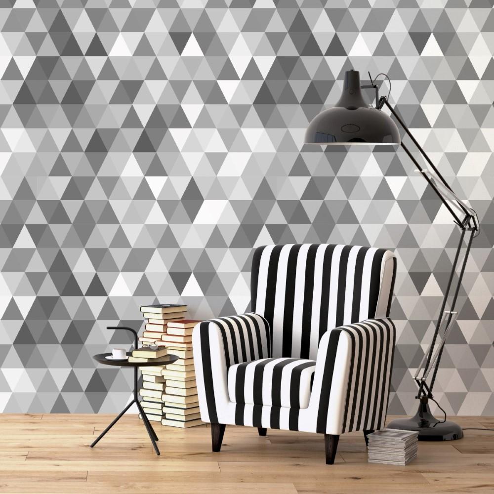 Papel De Parede Adesivo Geom Trico Mosaico Cinza Stickdecor ~ Papel De Parede Grafite Para Quarto