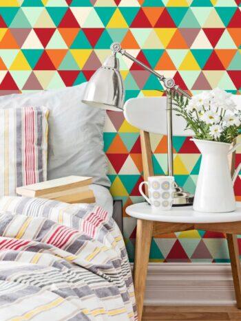 Papel de Parede Adesivo Geométrico Mosaico Colorido