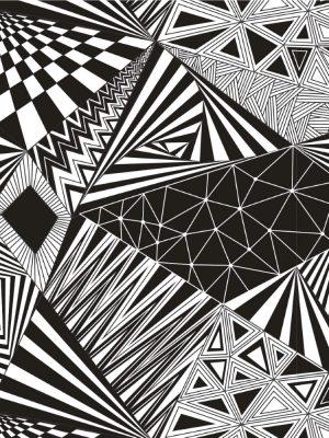 Papel de Parede Adesivo Geométrico Preto e Branco
