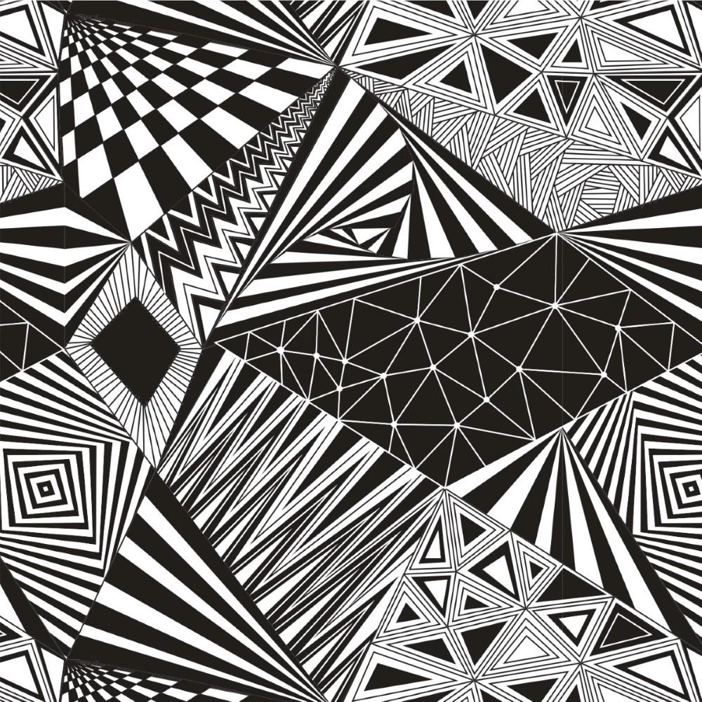 Papel de parede adesivo geom trico preto e branco stickdecor for Papel de pared negro