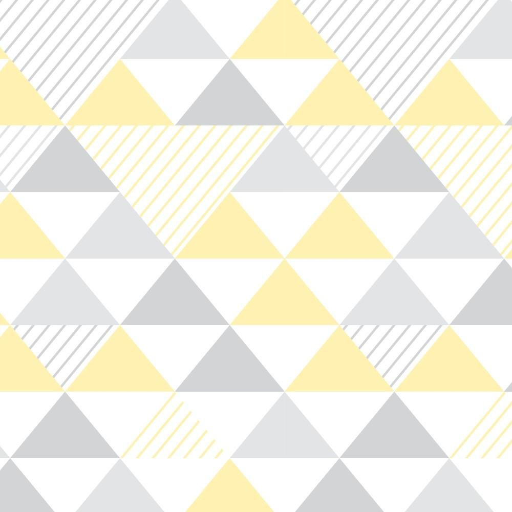 Papel de Parede Adesivo Geométrico Triangulos Amarelo e Cinza  StickDecor