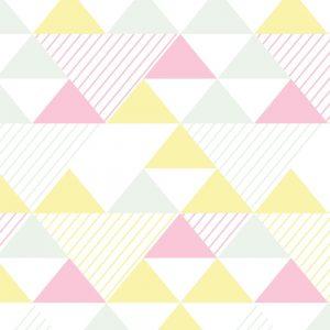 Papel de Parede Adesivo Geométrico Triangulos Rosa Amarelo e Verde