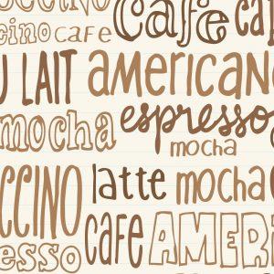 Papel de Parede Adesivo Gourmet Café Typo