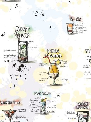 Papel de Parede Adesivo Gourmet Carta de Drinks