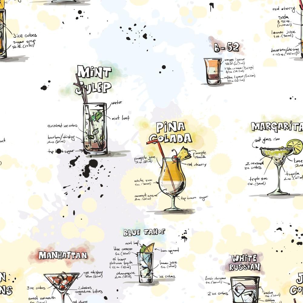 Favoritos Papel de Parede Adesivo Gourmet Carta de Drinks - StickDecor WB11