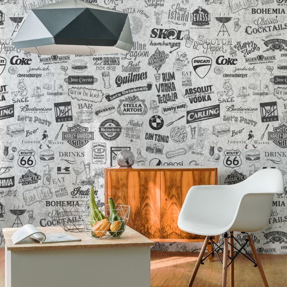 Papel De Parede Adesivo Gourmet Labels Stickdecor ~ Papel De Parede Grafite Para Quarto