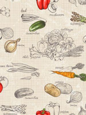 Papel de Parede Adesivo Gourmet Legumes