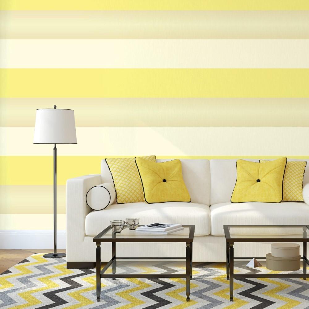 Papel De Parede Adesivo Listras Amarelas Stickdecor -> Parede Sala Listrada