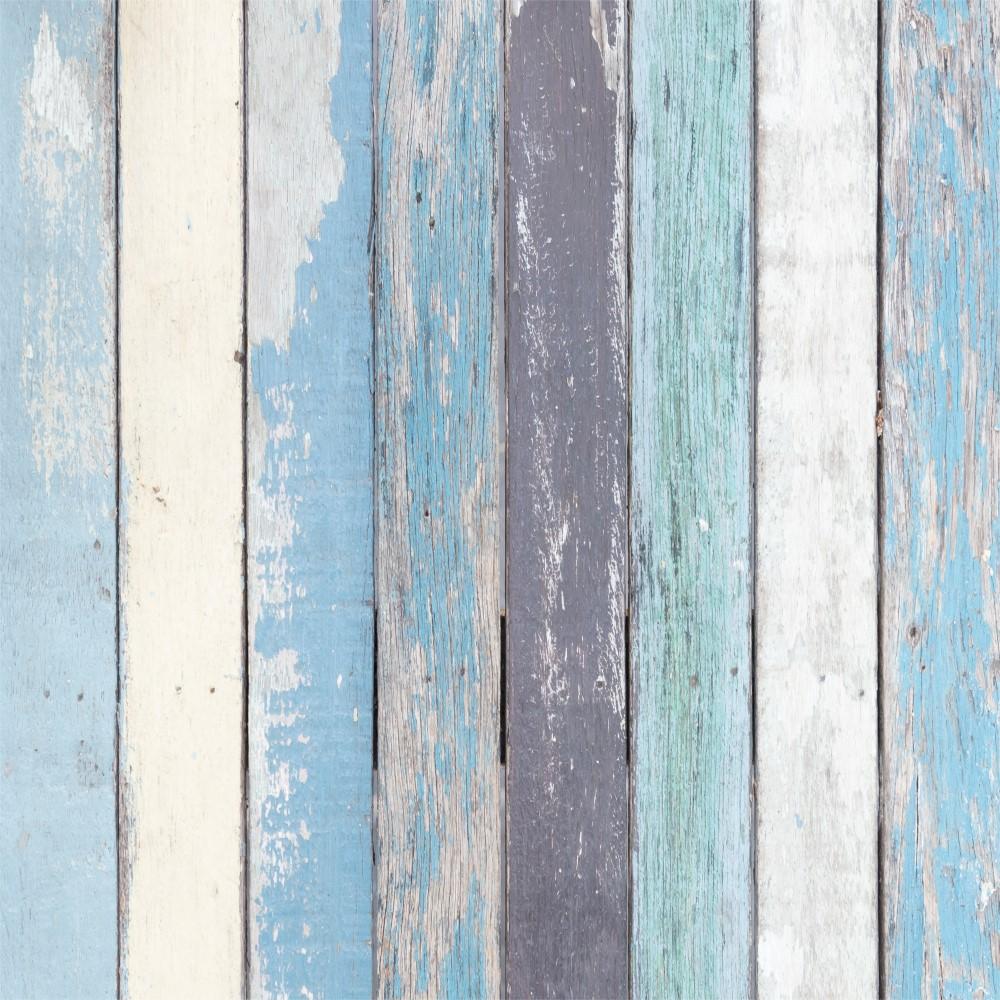 Aparador De Livros Turquesa ~ Papel de Parede Adesivo Madeira Azul 041 StickDecor