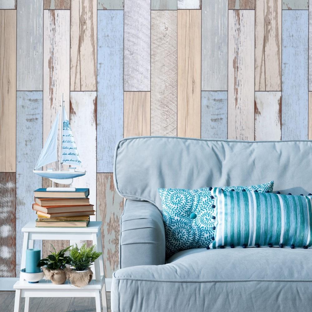 Papel de parede adesivo madeira r stica azul stickdecor for Papel para paredes salon