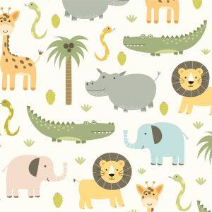 Papel de Parede Adesivo Mundo do Zoologico