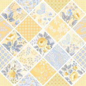 Papel de parede Adesivo Patchwork Amarelo