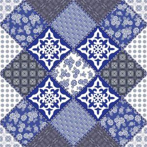 Papel de parede Adesivo Patchwork Azul e Cinza