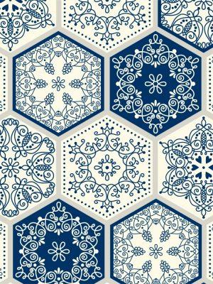 Papel de parede Adesivo Patchwork Azul