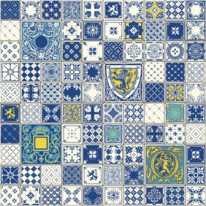 Papel de Parede Adesivo Patchwork Azulejo
