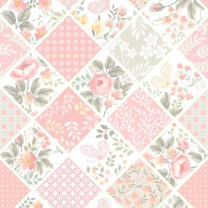 Papel de Parede Adesivo Patchwork Floral Rosa