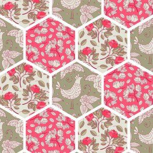 Papel de parede Adesivo Patchwork Flores e Penas