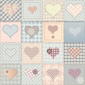 Papel de parede Adesivo Patchwork Love e Costura