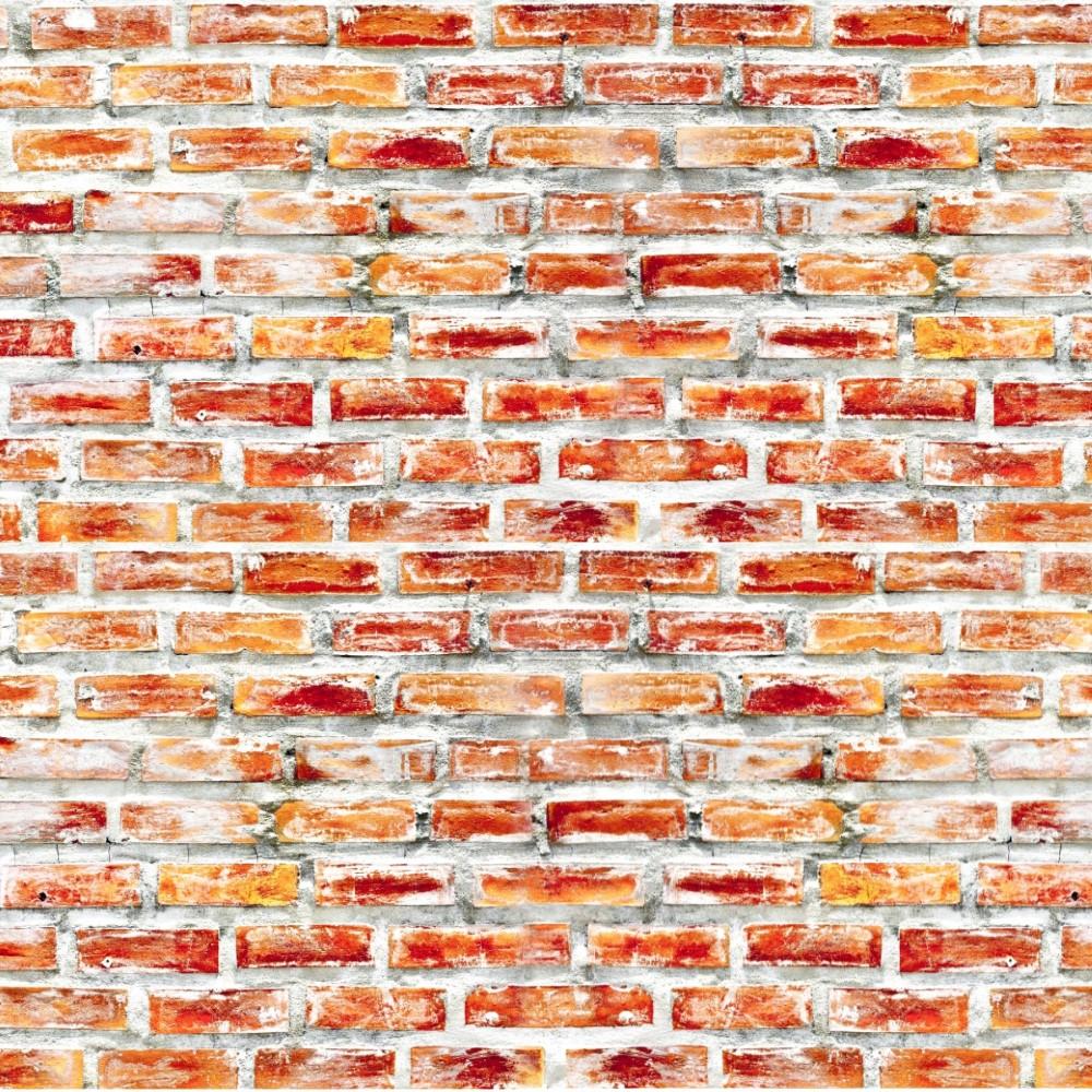 Papel de parede adesivo tijolo r stico vermelho stickdecor for Papel de pared rustico