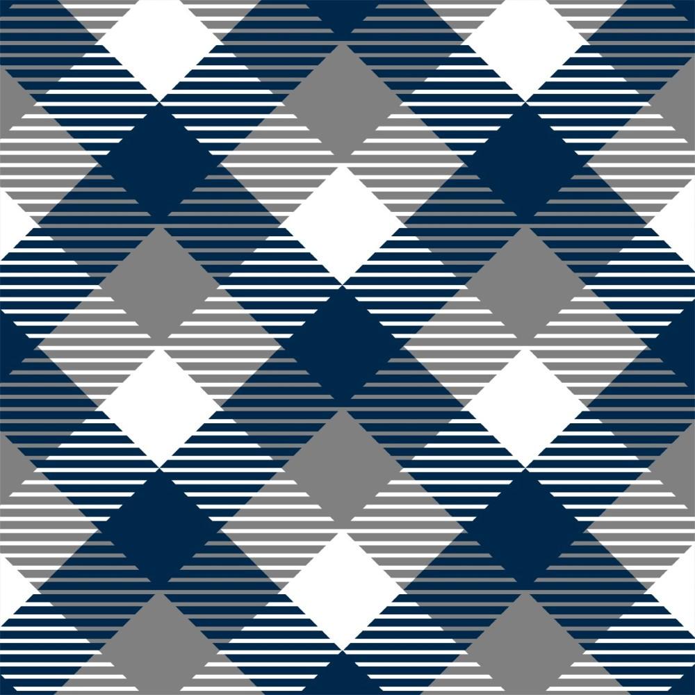 Aparador Branco Para Quarto De Bebe ~ Papel de Parede Adesivo Xadrez Azul e Cinza StickDecor