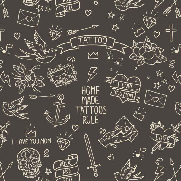 Papel de Parede Adesivo Teens Black Tattoo
