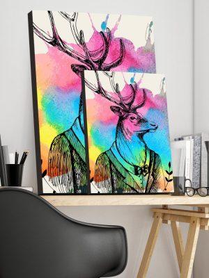 Placa Decorativa Alce Colorful