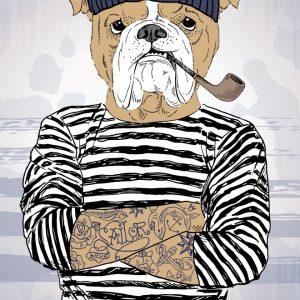 Placa Decorativa Bulldog Hipster