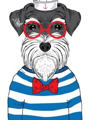 Placa Decorativa Dog Marinheiro Hipster