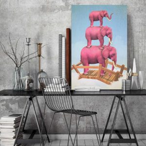 Placa Decorativa Elefantes Rosa
