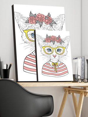 Placa Decorativa Gatinha Hipster