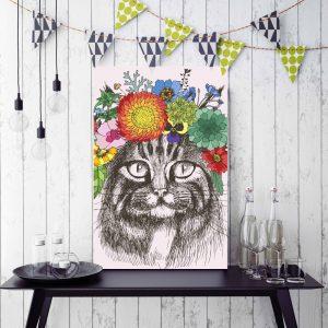 Placa Decorativa Gato Flores