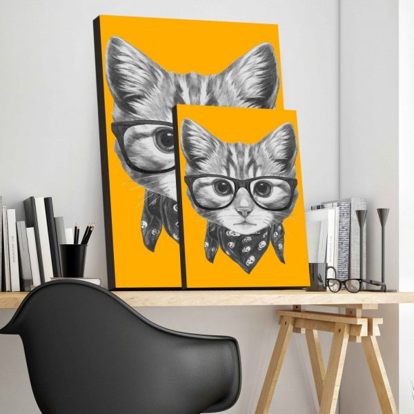Placa Decorativa Gato Hipster