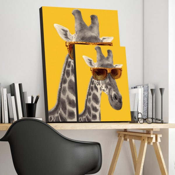 Placa Decorativa Girafa Hipster
