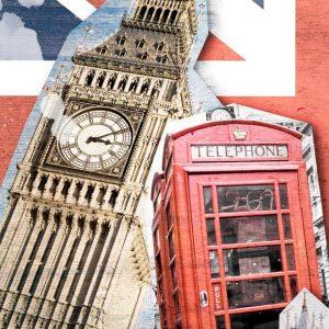 Placa Decorativa London Collage